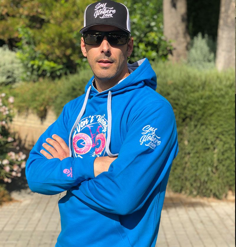 Sudadera Dont Worry Bike Happy Azul